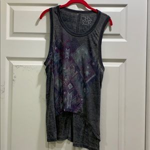 Chaser Tribal Print High Low Tunic Tank Top S
